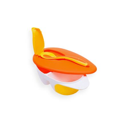 Fedeles etető tányér kanállal- narancs